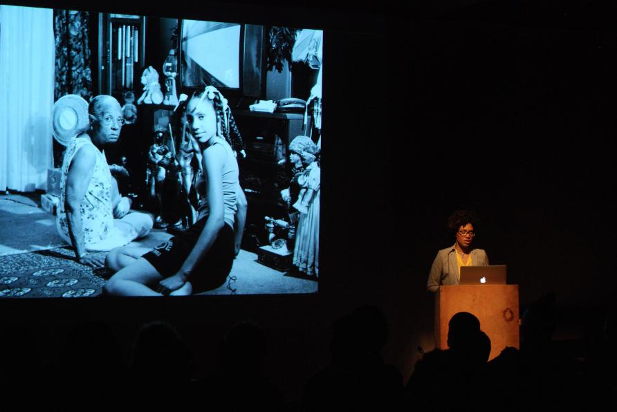 LaToya Ruby Frazier lecturing in 2015.