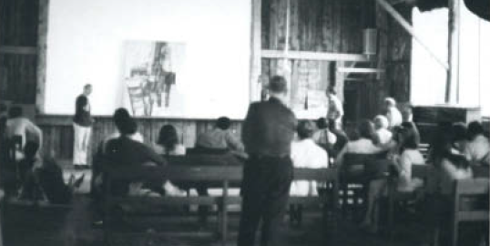 Ad Reinhardt lecturing in the Fresco Barn, 1967.