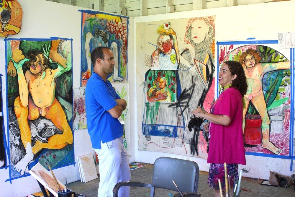 Alina Perez   (A '17) with Skowhegan Council Co-Chair Bernard I. Lumpkin during Open Studios at Trustee & Governor's Weekend, 2017.