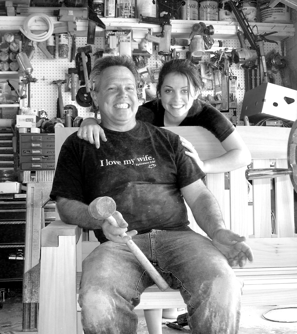 Douglas Broadbent and daughter Paige building custom furniture in their East Coast Shop.