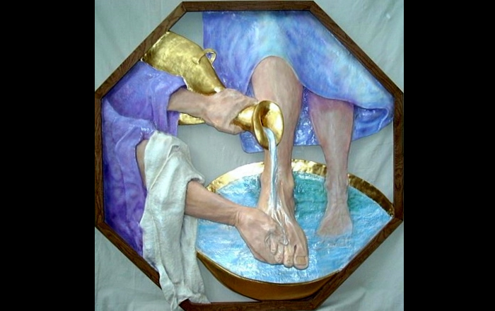 """""""Penitential Foot Washing""""  Acrylic and gold leaf on  resin relief with stained oak framing. (54"""" X 54"""")"""