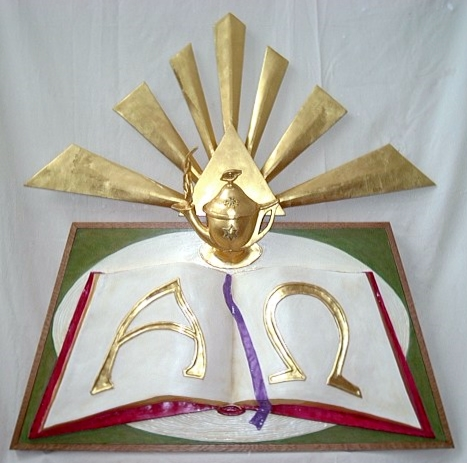 """""""Word of God"""":  Composite relief sculpture wall piece; acrylic and gold leaf on wood and resin. (54"""" X 54"""")"""