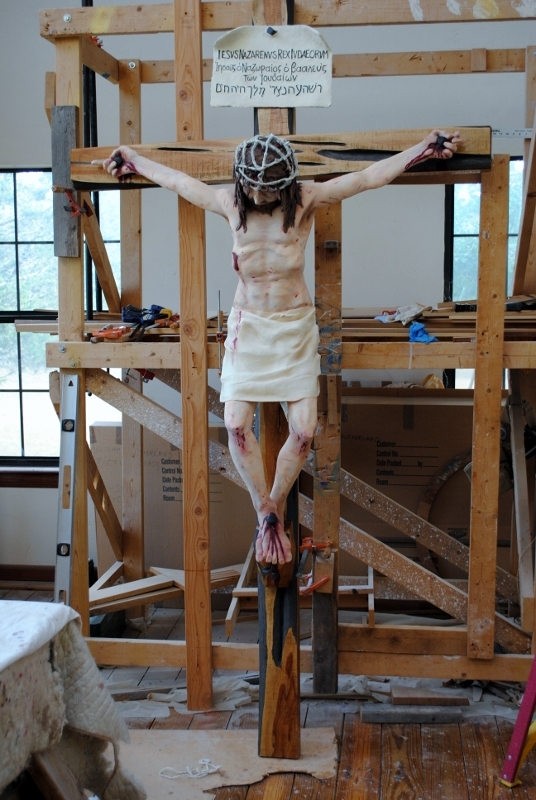 Preliminary build-up to adoration crucifix.