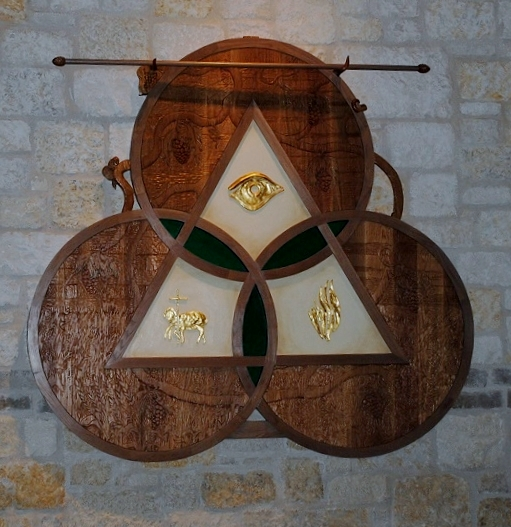 """""""Spirit of Holy Trinity Parish"""" :  Commemorative wall piece ; carved oak and gold leaf and sculpted resin. (96"""" X 110"""")"""