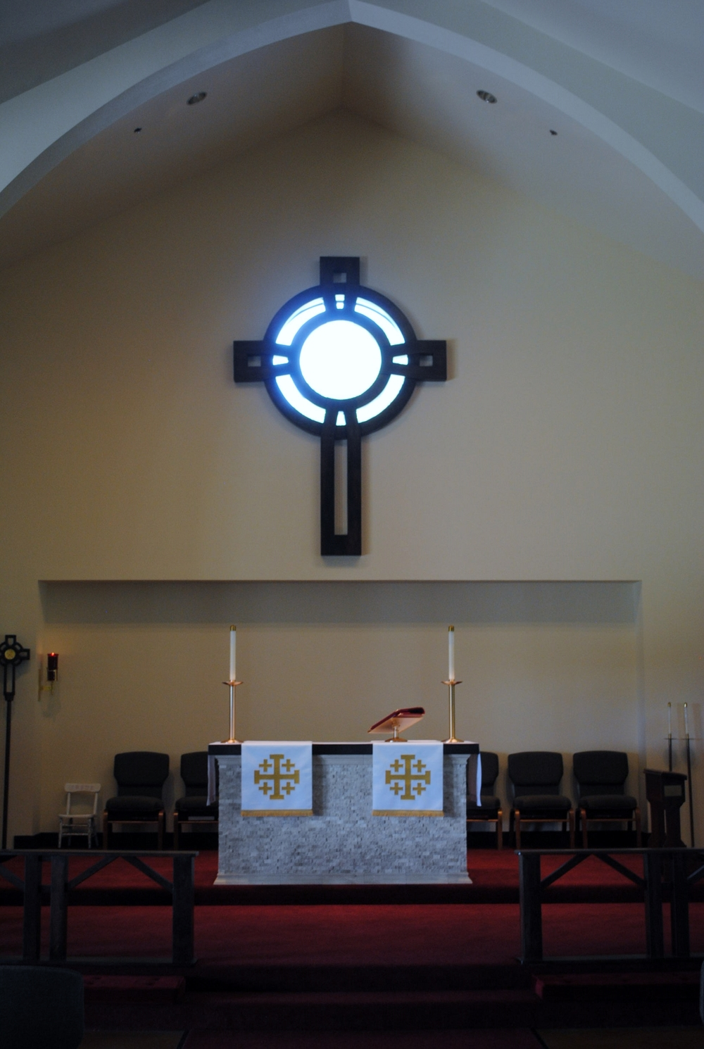 """""""Modified Celtic Ceremonial Sanctuary Cross"""": Stained Poplar (84"""" X 108"""")"""