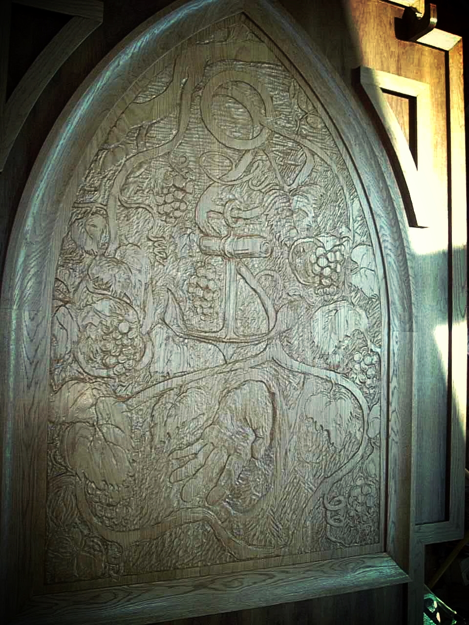 """""""Tools for the Vineyard"""":  Carved oak panel  (54"""" X 60"""")"""