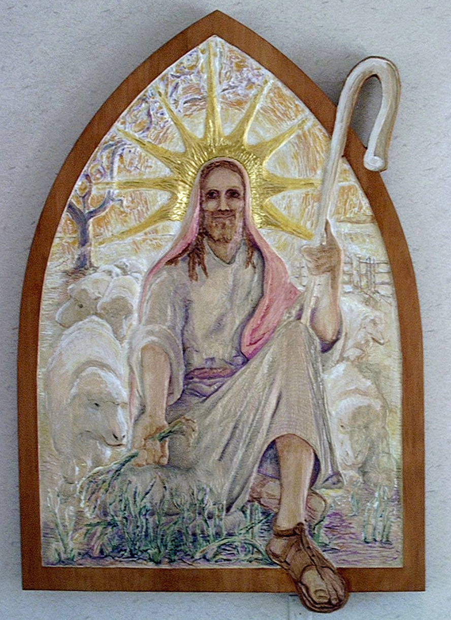 """""""Good Shepherd"""" Acrylic and gold leaf on carved bass wood. (72""""X54"""")"""