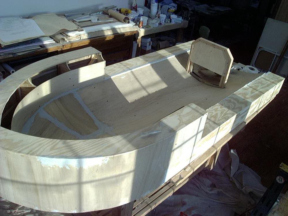 Preliminary build-up for statue pedestal and PVC / resin surround molding