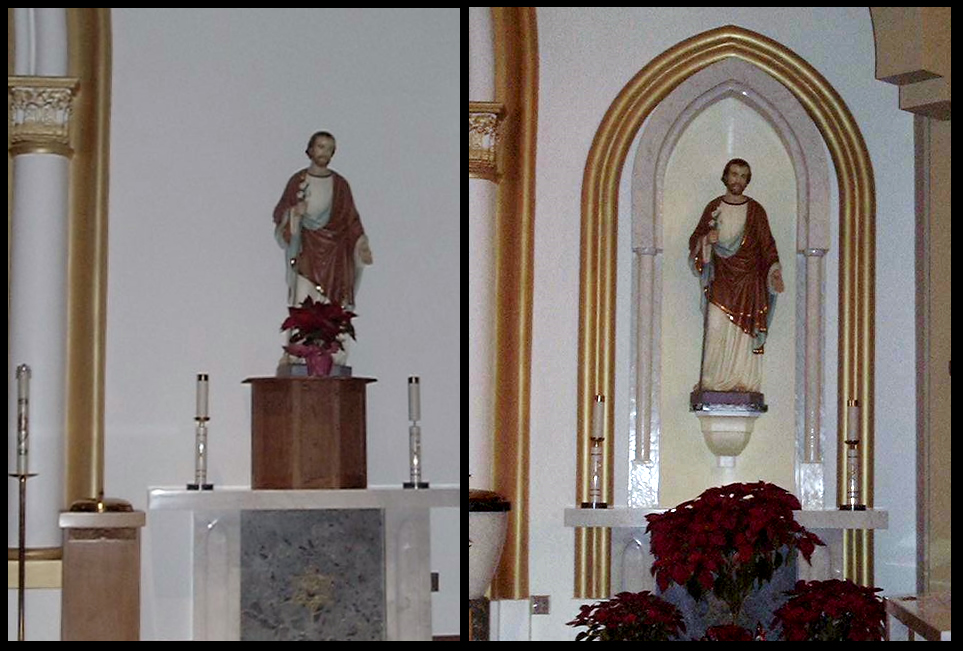 Before and after of sanctuary statue display.  Resin faux marble with acrylic on resin surrounds (13' X 7')