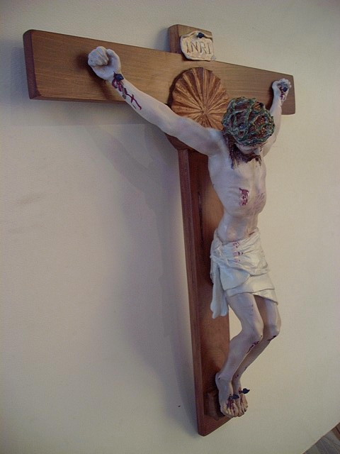 """13""""X16"""" Crucifix: cedar cross with acrylic  on resin corpus to fit the unique spacing above the tabernacle."""