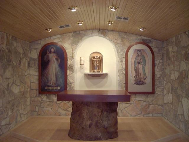 """Private Chapel Space: Oak trunk base with cedar altar top (39""""X54""""), cedar image surrounds (30""""X60"""")."""