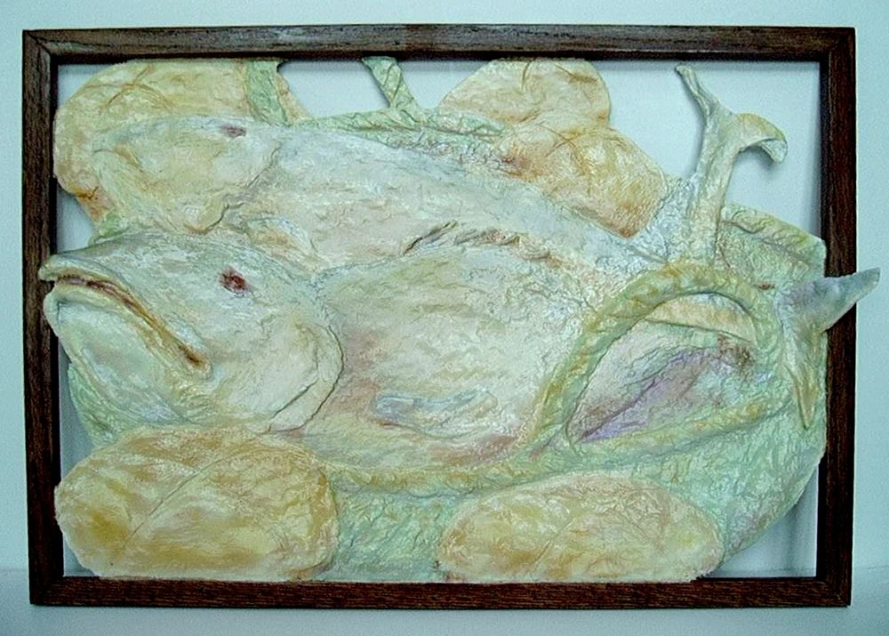 """""""Loaves and Fishes"""" :  Acrylic on sculpted resin with oak framing (16"""" X 24"""")"""