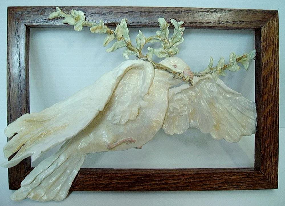 """""""Peace Prayer"""" Acrylic on sculpted resin. (9"""" X 13"""")"""