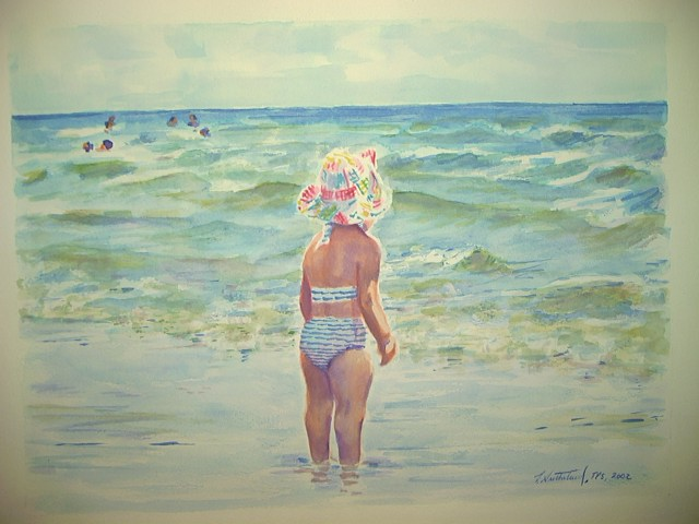 """Windy Day At the Shore"" , Watercolor on Arches, 16.5""X11.75"""