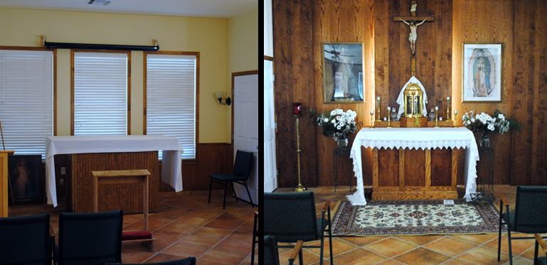 """""""Blessed Sacrament Chapel"""" (before and after renovation).  Oak and alder paneling in addition to oak / alder altar with tabernacle mount."""
