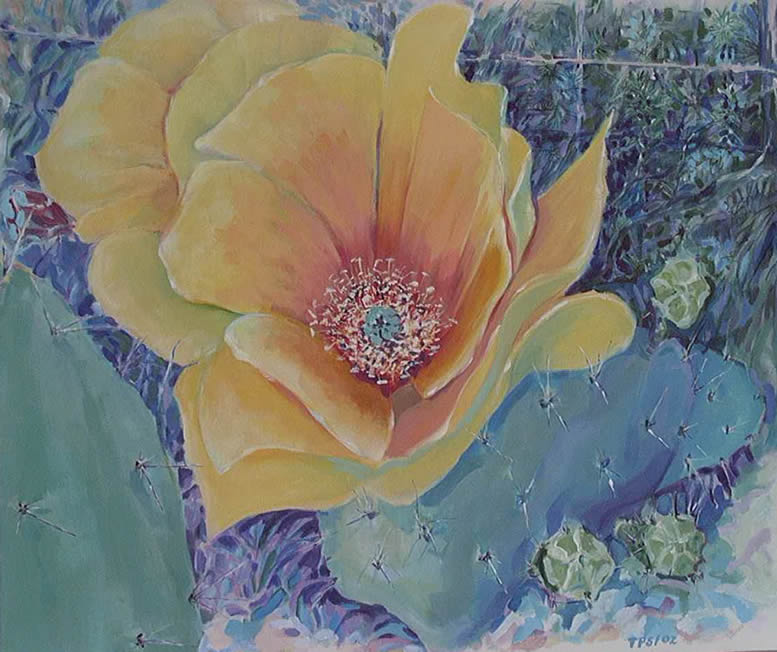 """Twilight Cactus Blossom""  Acrylic on Canvas,  30""X36"""
