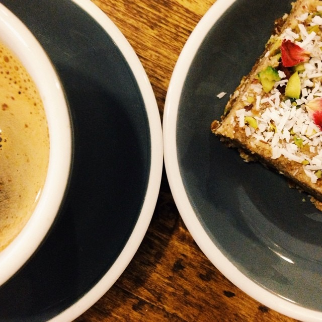 Perfect with your morning coffee, we now serve Halva inspired bites. Base of pistachios & Almonds with a sesame & date topping and sprinkled with coconut, pistachios & rose. #healthybites #vegan #glutenfree #southsea #southseacoffee #food