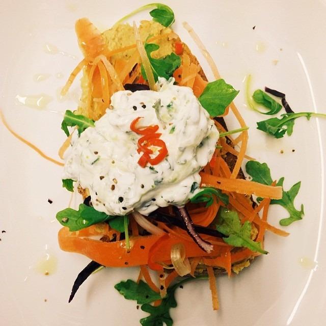 Sourdough Bruschetta topped with Indian Spiced Hummus, Carrot Salad, Raitha & Chillis #southseacoffee #southsea