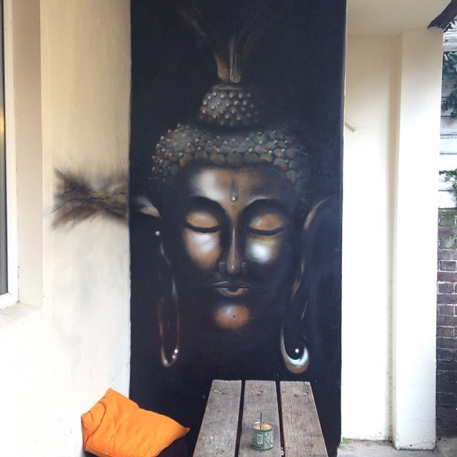 Finished Buddha wall in our garden by the very lovely and talented Jessamy. Come and check it out.