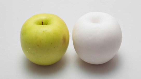 an apple and a plaster apple.jpg