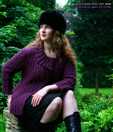 Twist & Shout  is a magically flattering cabled jacket, worked in an aran-weight alpaca blend. Irresistibly cozy and fun to knit.   Get it for free on Knitty.
