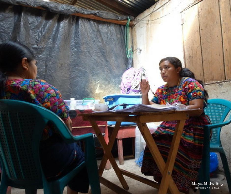 Fabiola, a Mayan midwife, takes Ana's patient history in Toj Rincón.
