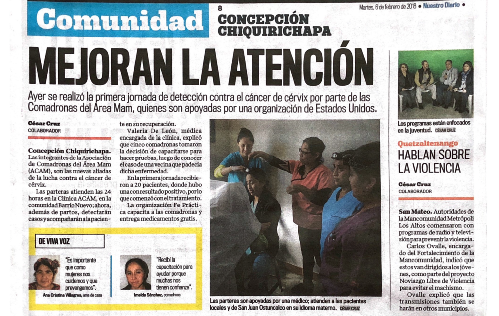 The article that was published in Nuestro Diario, the national newspaper in Guate