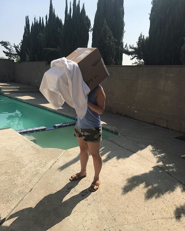 Watching the eclipse with our super high tech NASA built viewing device #solareclipse2017 #losangeles