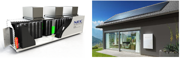 Batteries as they relate to energy storage can come in many shapes and sizes. The number of batteries used depends on the size of the microgrid. The shipping container on the left holds many large batteries; a microgrid could employ several containers worth of storage. On the right is an example of  Tesla's Powerwall , which makes batteries scalable; you can connect as many Powerwalls together as you want. Like Legos!