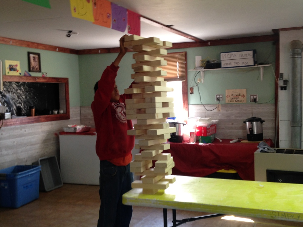 Balancing act: The life-size Jenga game required concentration...and lots of deep breaths from participating campers!