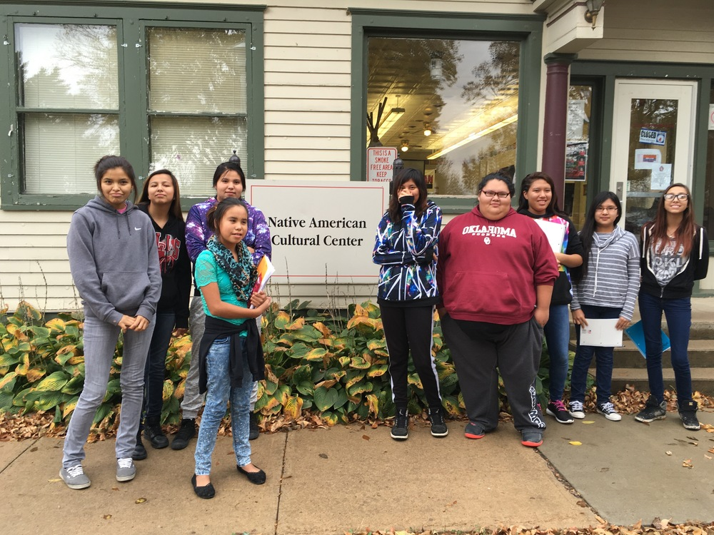 Nine students from the town of La Plant on the Reservation visit the Native American Cultural Center at the University of South Dakota. The Center is integral to Native student retention rates. (October 2015)