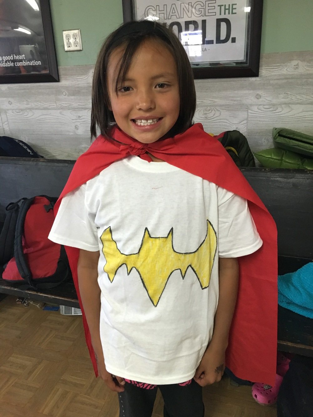 Superhero Day at camp, complete with mighty t-shirts and capes!