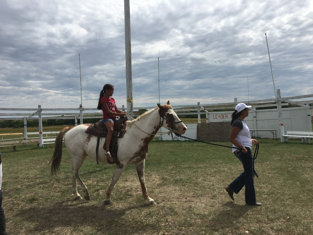 Learning about horses - and taking a spin! - at camp on Monday! (La Plant, August 2016)