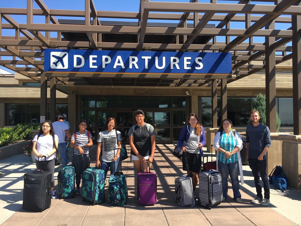 The intrepid travelers, accompanied by Senior Program Manager Zach Gross, board their flight from Rapid City to the East Coast to begin their two-week excursion.