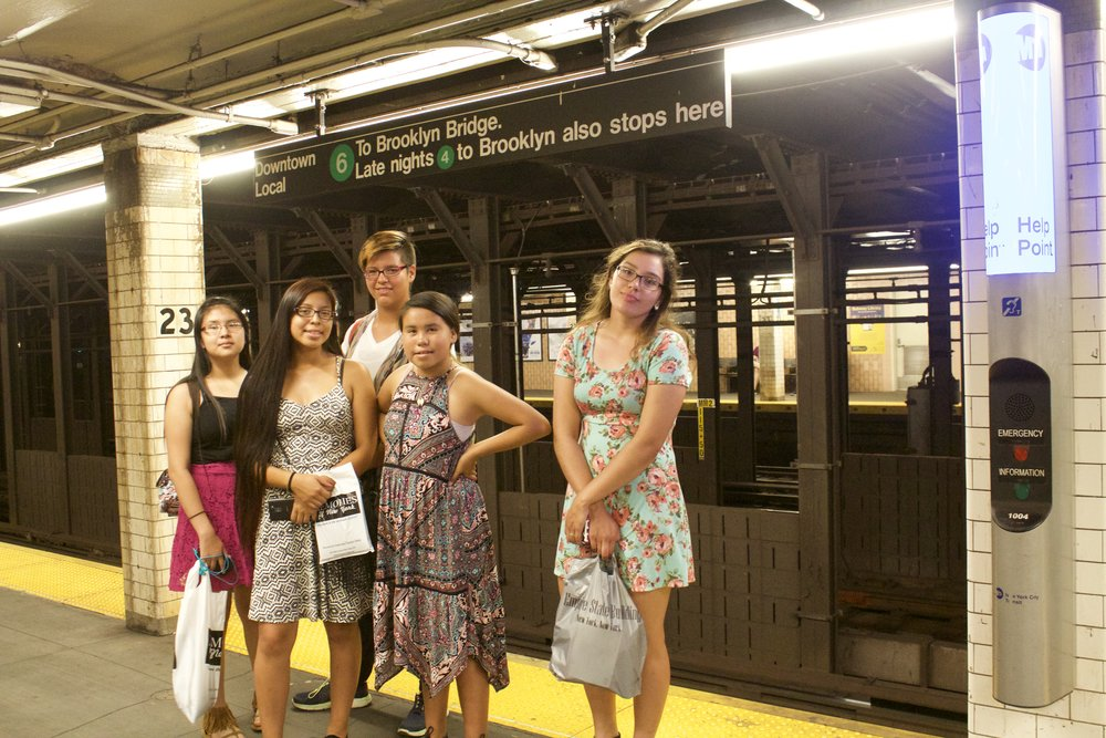 Navigating the subway in New York City.