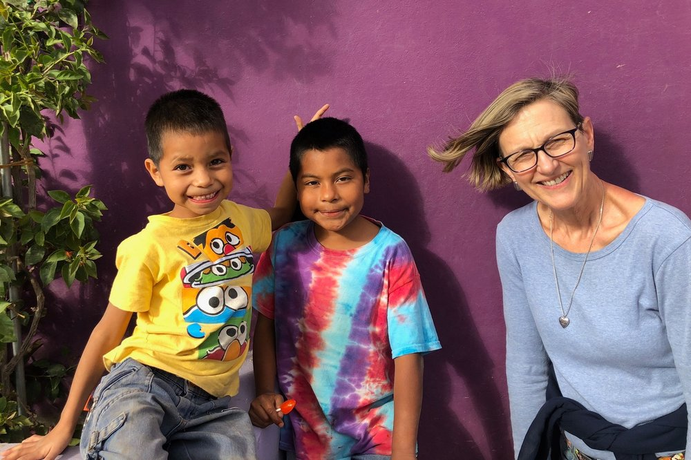 Say  queso!   The kids at the Simply Smiles Home for Children in Oaxaca, Mexico with volunteer Betsy Van Loon.