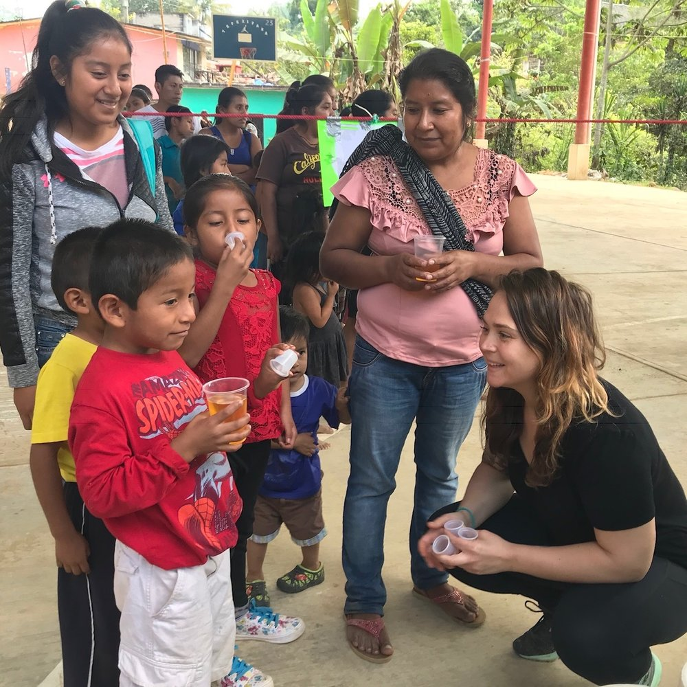 Volunteer and nurse Colleen at the medical clinic and food distribution in Oaxaca in December 2018.