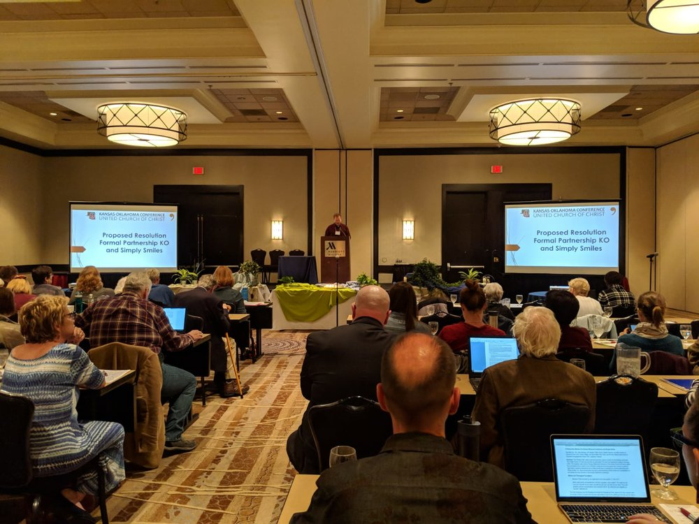 Members of the Kansas-Oklahoma Conference approved a resolution of support to formally partner with Simply Smiles in October 2018