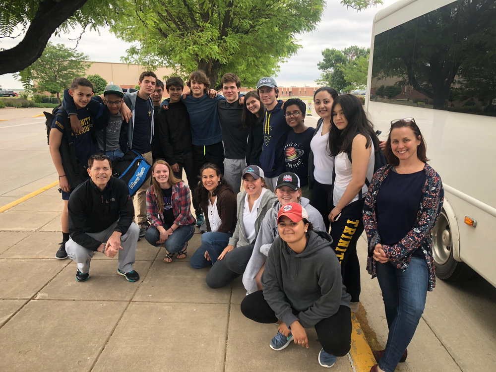 Members of Millbrook School and Trinity School NYC arrive in Rapid City, South Dakota for their 2018 service trip to the Cheyenne River Reservation ready to go!