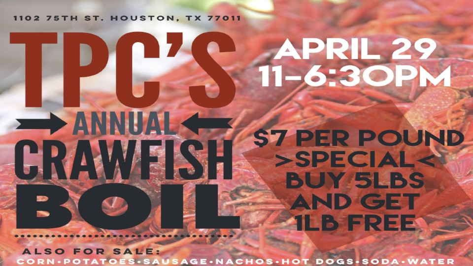 Join us for our 5th annual Crawfish Boil
