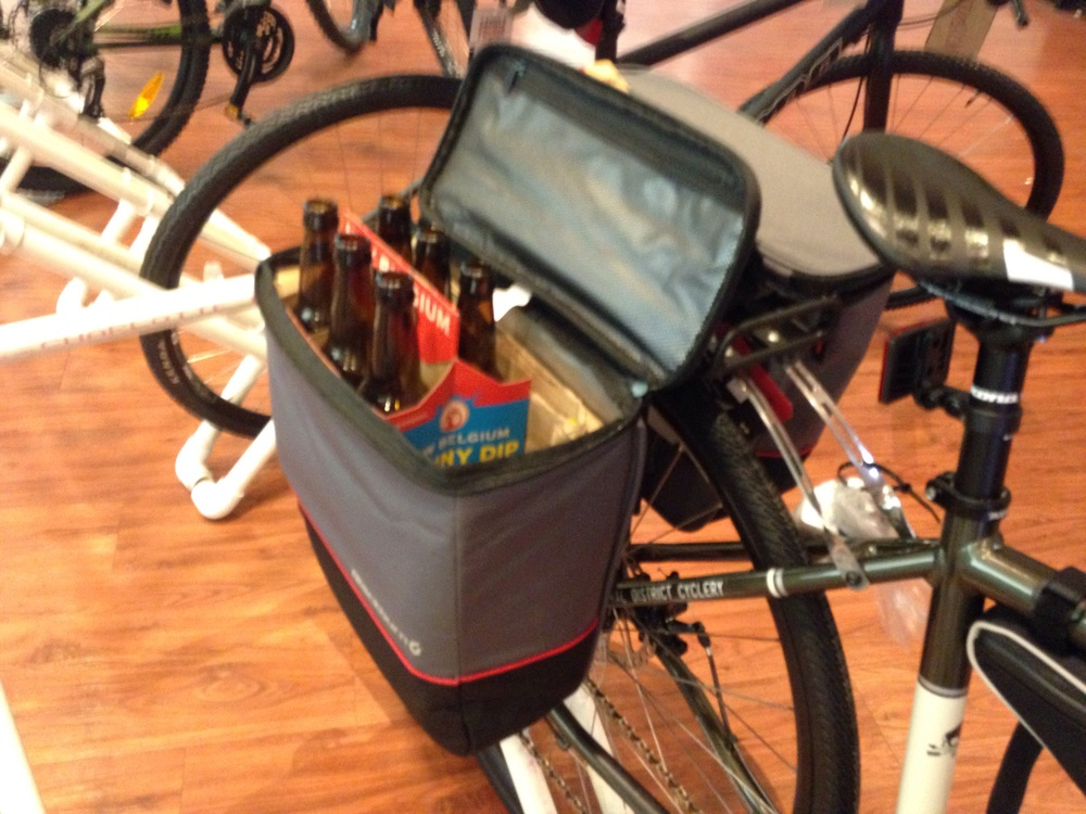 Cooler pannier from Blackburn. Insulated saddlebags. Picnics, concerts, and groceries.