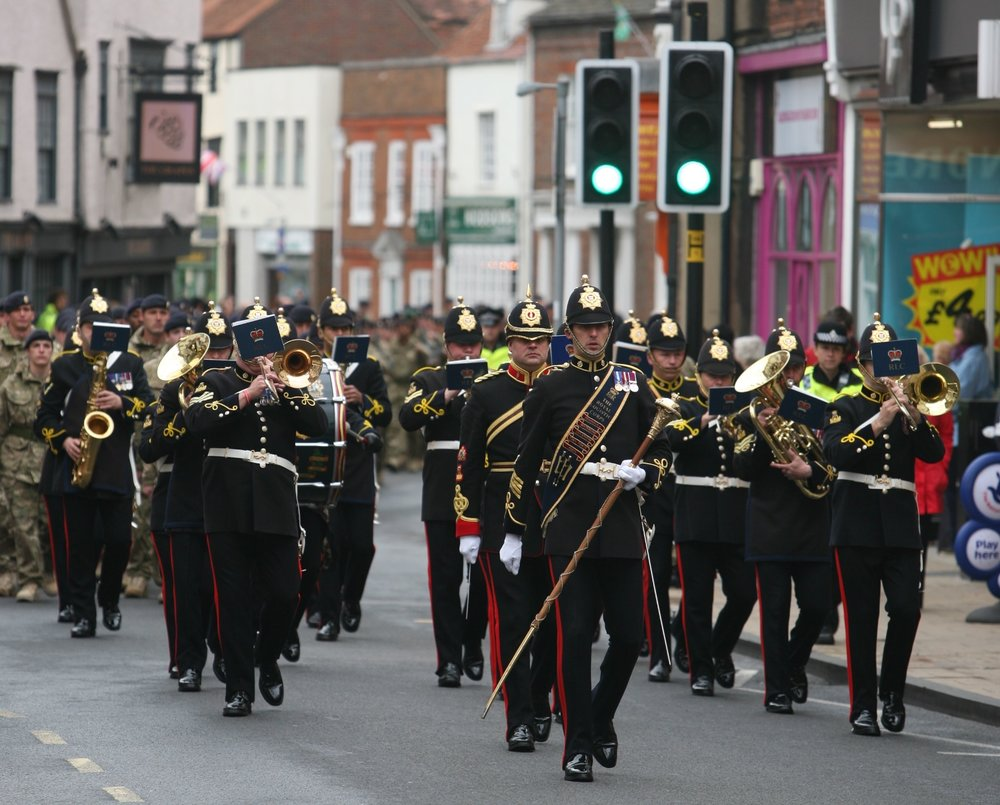 Band of the Royal Logistic Corps march along Abingdon High Street, November 2013
