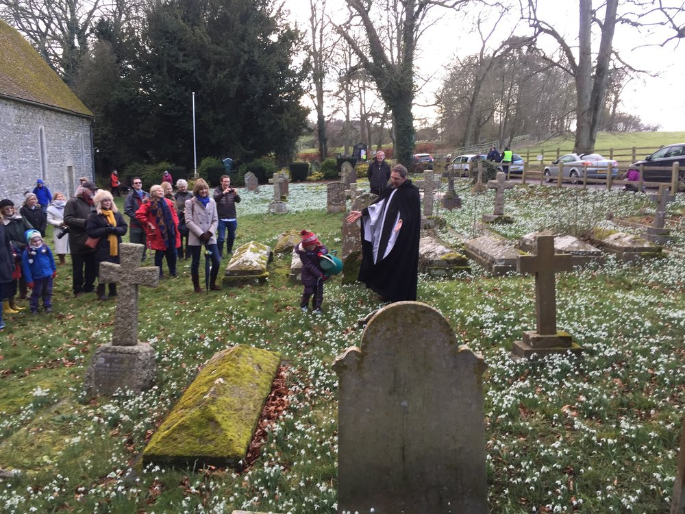 The Blessing of the Snowdrops at Saint Botolph's, Swyncombe on Sunday
