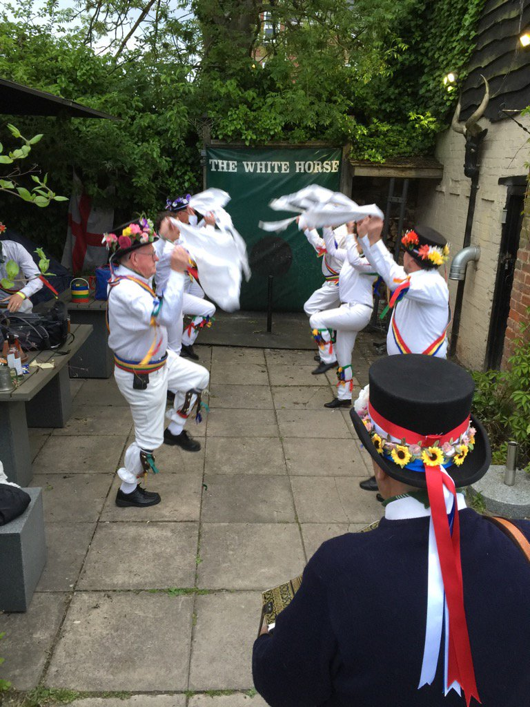 Mr Hemmings' Traditional Abingdon Morris dance on The White Horse's AuntSally pitch