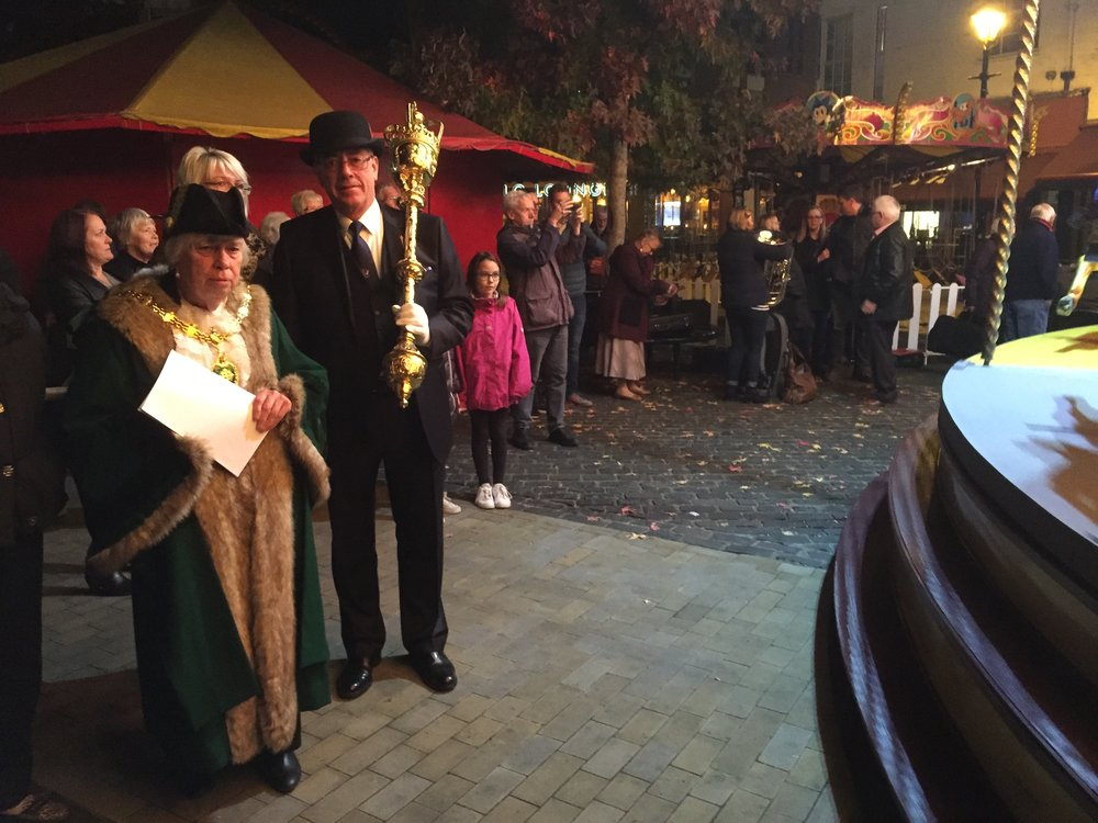 Mayor of Abingdon and Civic Mace Bearer, after Sunday night's opening of the Michaelmas Fair