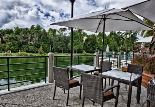 Lakeside terrace at the Grand Bohemian, Celebration. Photo courtesy of CelebrationHotel.com.
