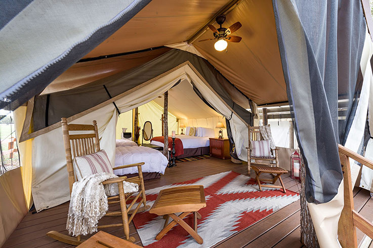 One of the glamping tents at Westgate River Ranch. Image: West Gate River Ranch.