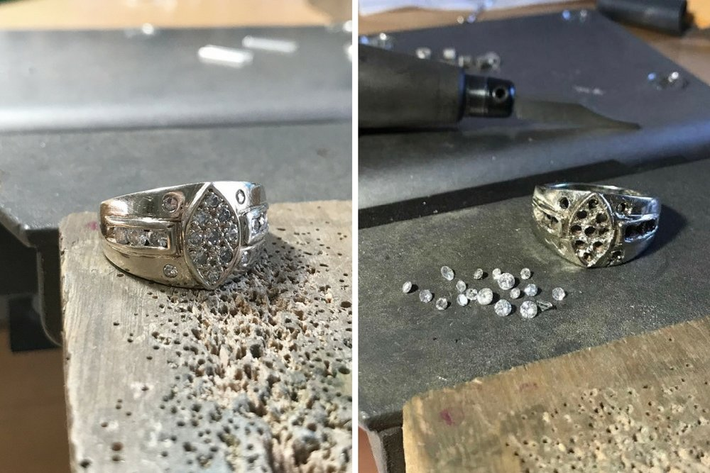The original 14K white gold ring before and after removing the diamonds- which we were able to repurpose in the new ring.  Each diamond was carefully removed from their setting using gravers to avoid breaking or chipping the stones.