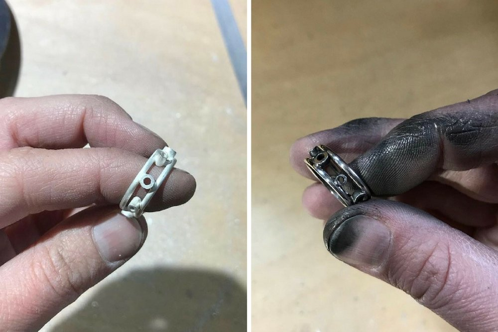 A look at the ring just after being soldered together and then once the settings were filed down and the ring was pre-polished…now time to add the diamonds!