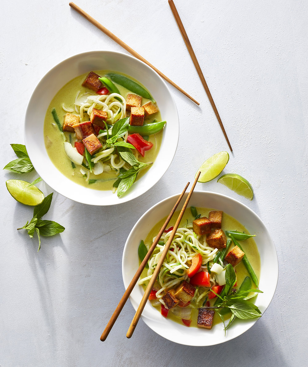 Green Coconut Curry With Zucchini Noodles and Tofu